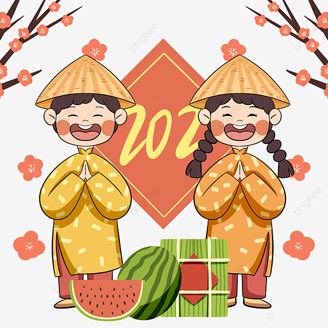cartoon style vietnamese traditional spring festival characters