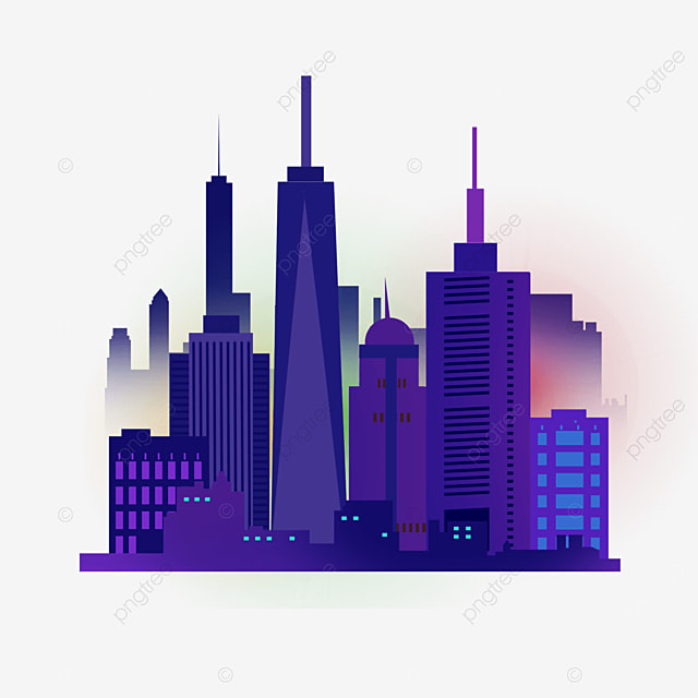 color light effect new york city purple silhouette