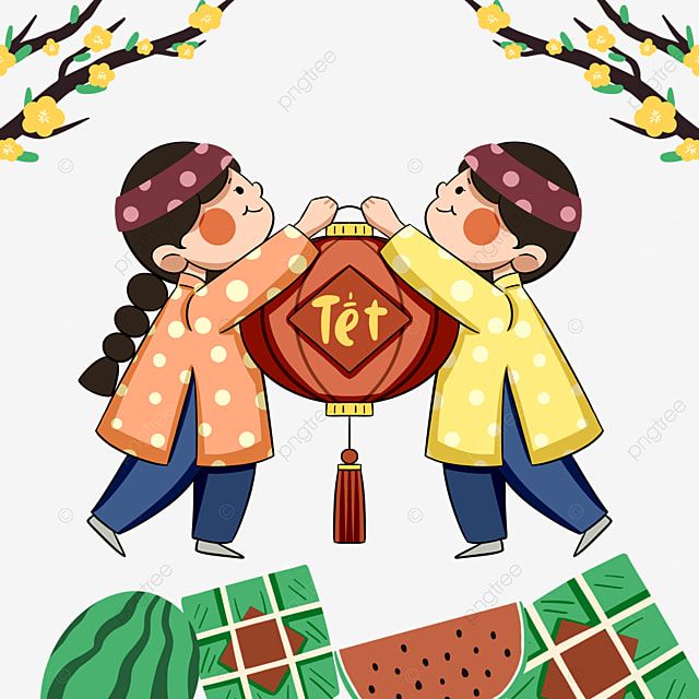 colored cute vietnamese new year characters
