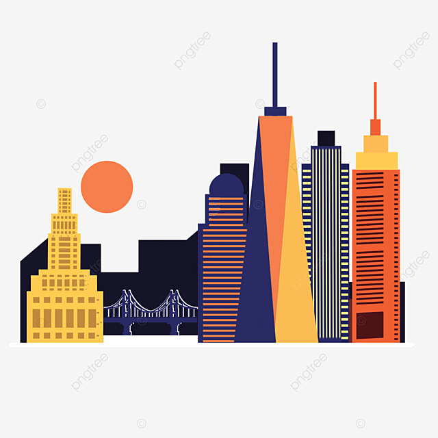 colored flat style new york city silhouette