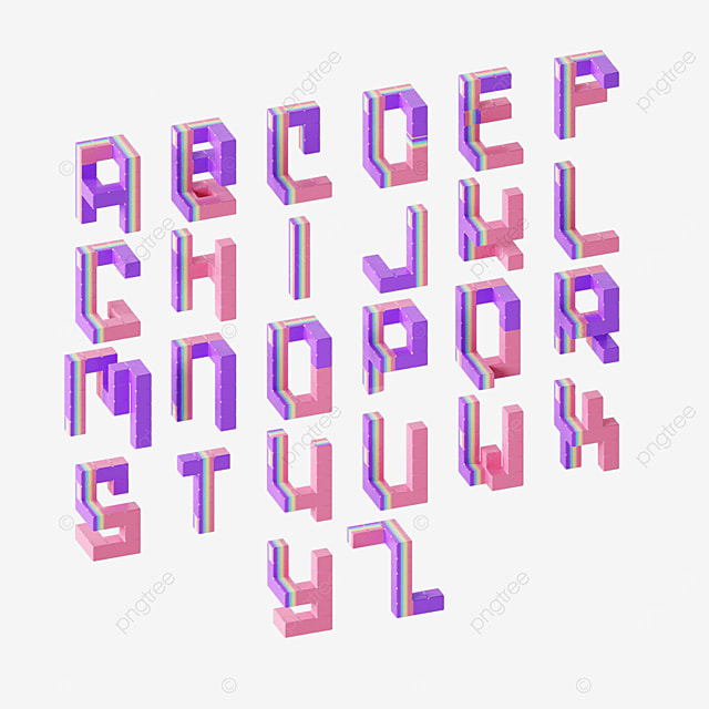 colorful abstract three dimensional letters