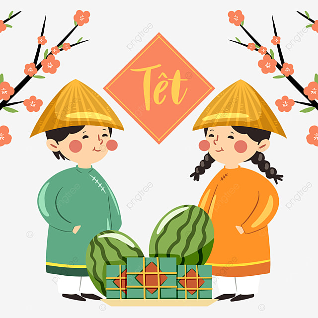 colorful cartoon style vietnamese traditional spring festival characters
