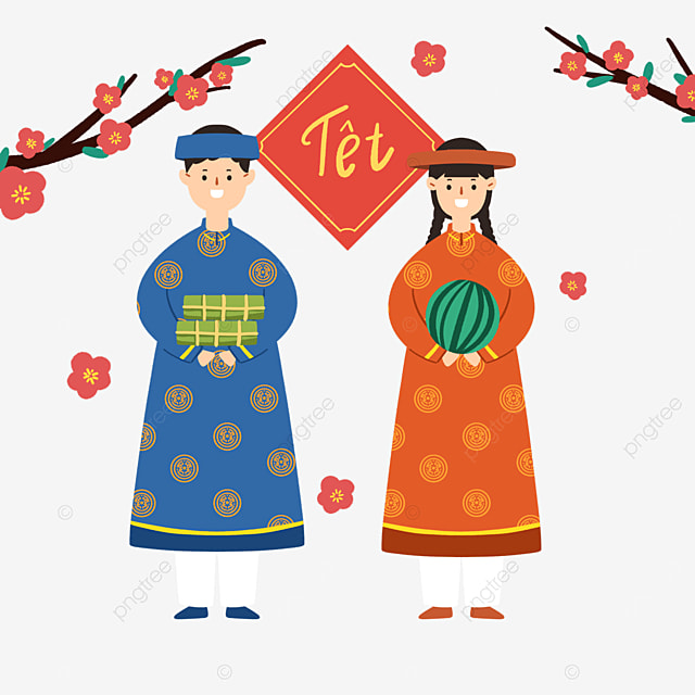 colorful cartoon vietnamese new year characters