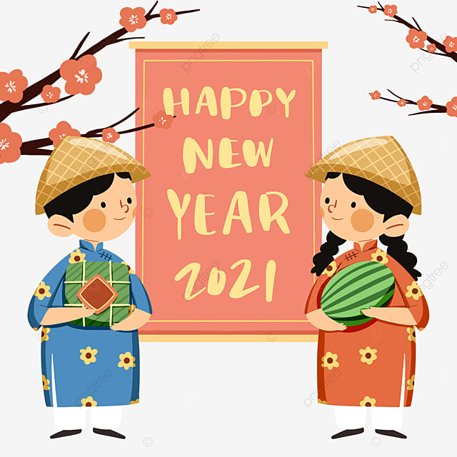 colorful cute style vietnamese spring festival characters