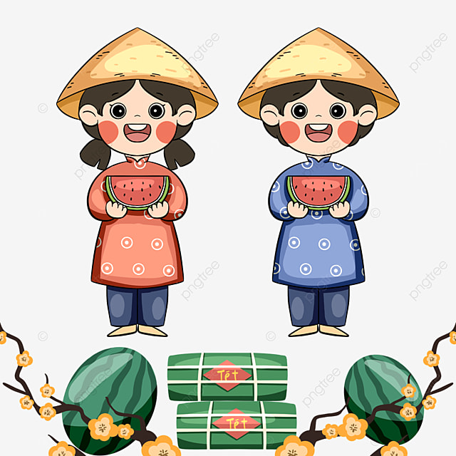 colorful cute style vietnamese traditional spring festival characters