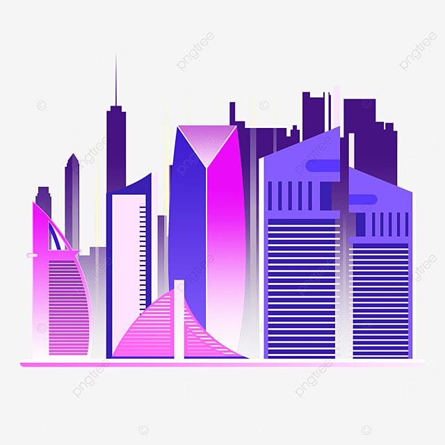 colorful dubai city silhouette