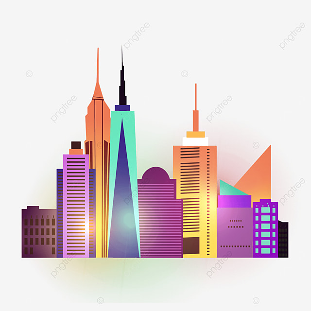 colorful gradient light effect bustling new york city silhouette