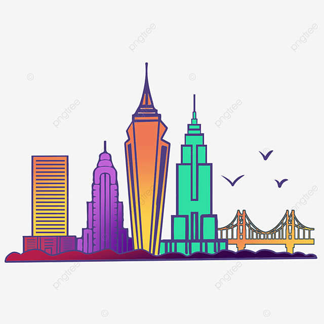 colorful gradient stroke bustling new york city silhouette