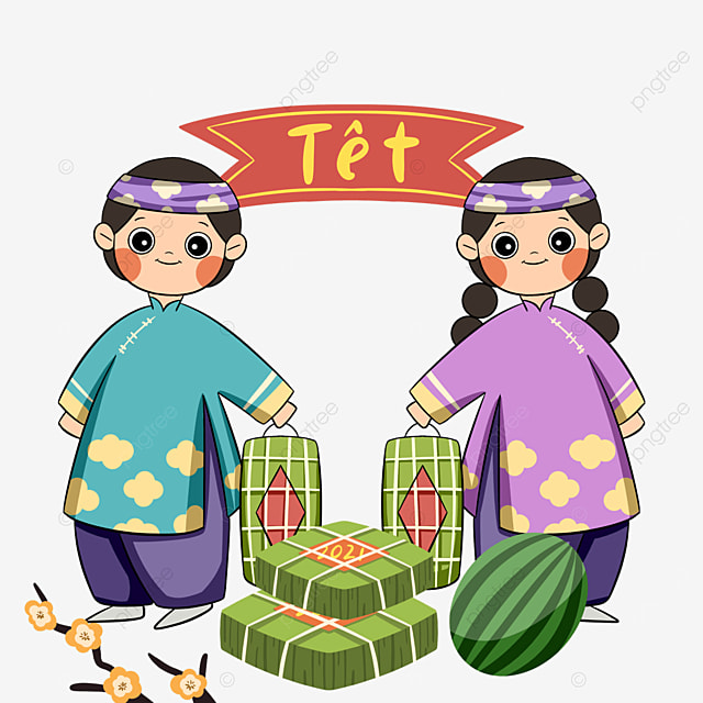 colorful vietnamese spring festival characters