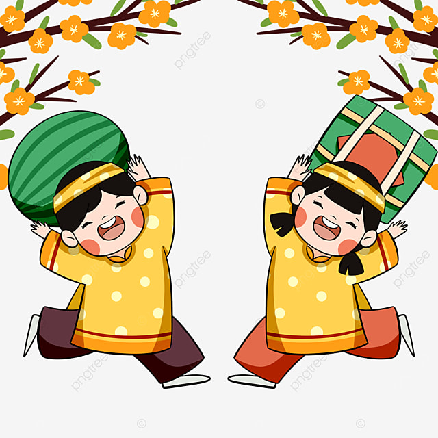 colorful vietnamese traditional spring festival characters