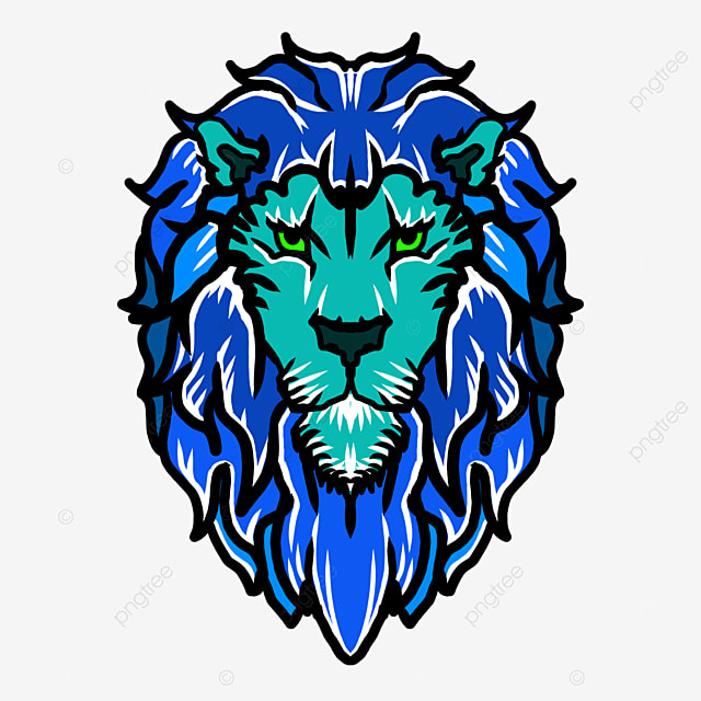 cool color frontal symmetry lion head clipart