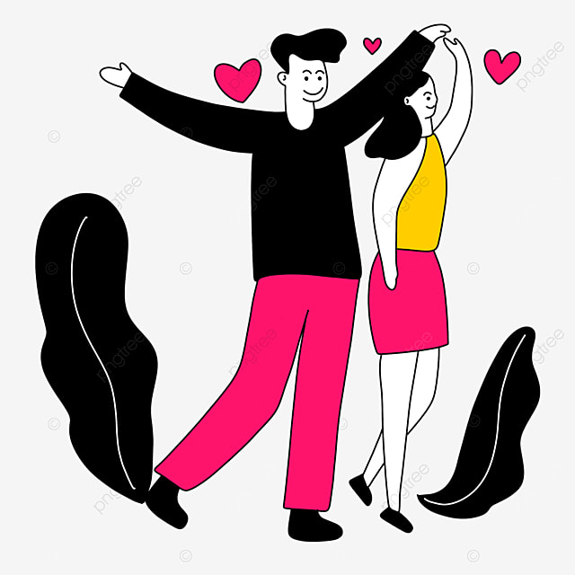 couple valentines day line character illustration with open arms