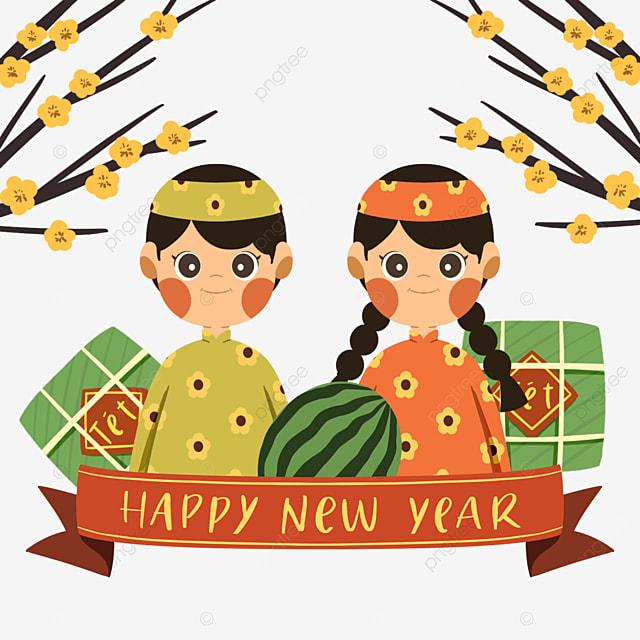 cute style vietnamese new year characters