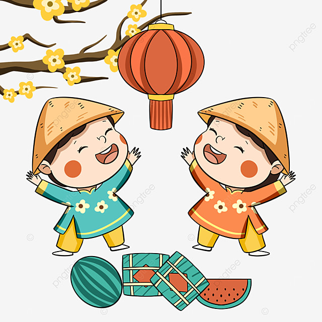 cute style vietnamese new year festival characters