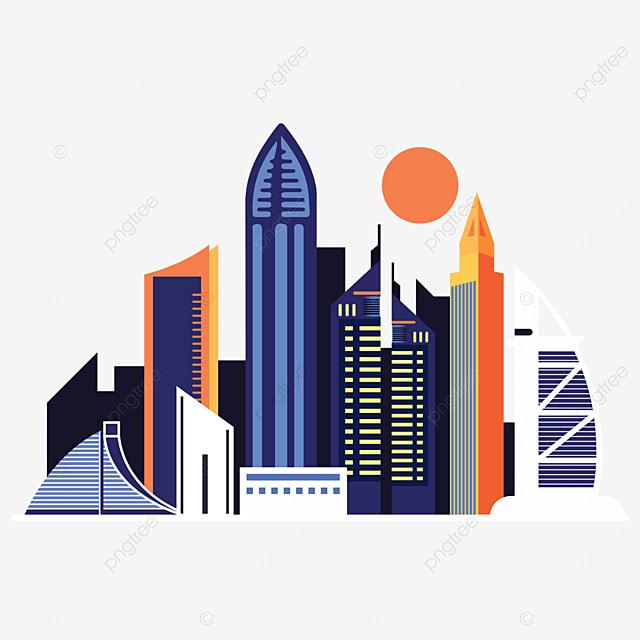 dubai city building silhouette