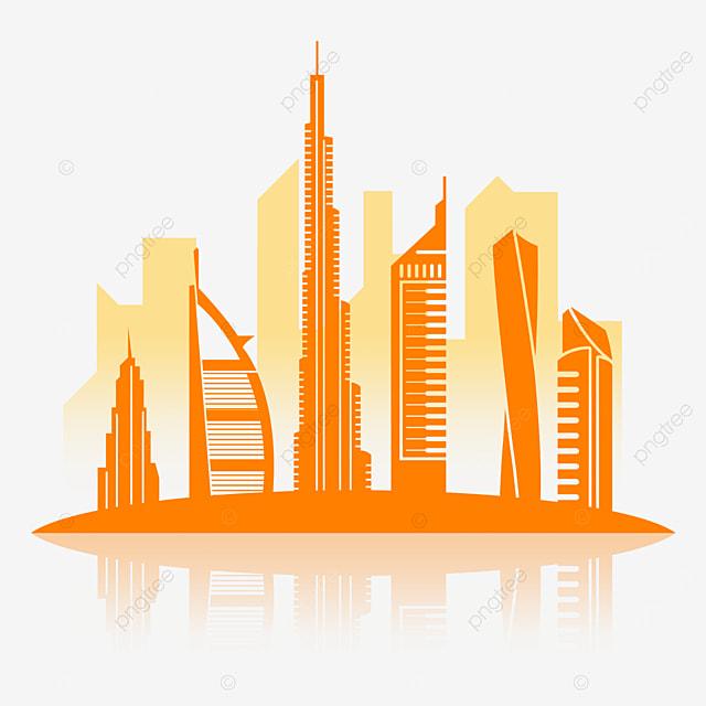 dubai city silhouette with orange lines
