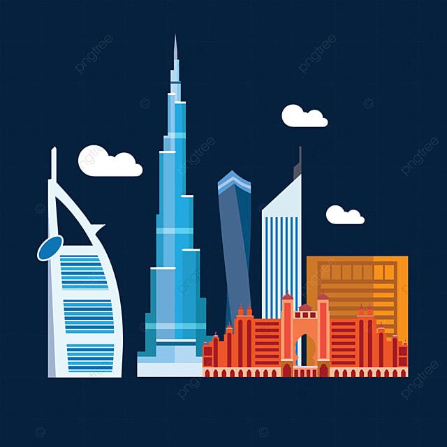 dubai landmark city silhouette