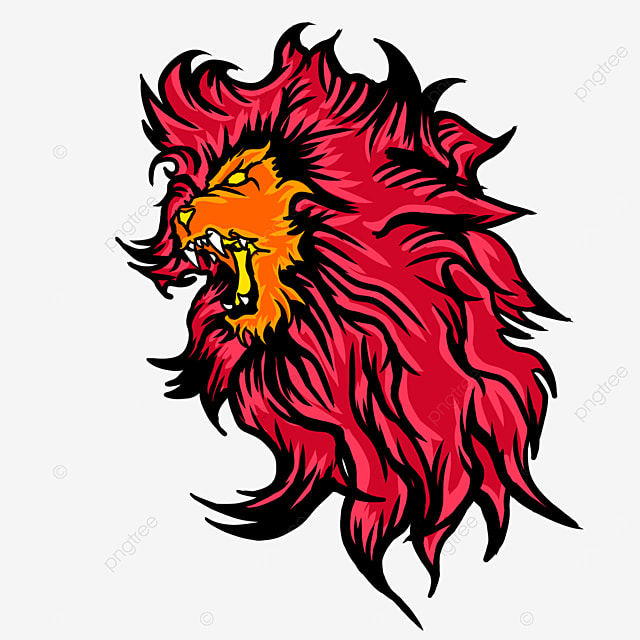 fierce lion head in flame color side clipart
