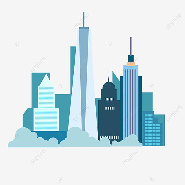 flat wind blue new york city silhouette