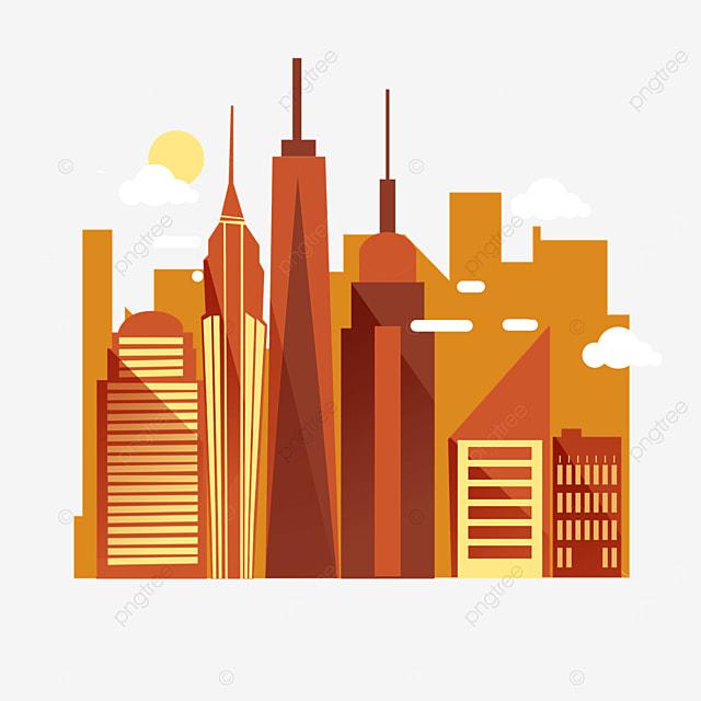 flat wind orange new york city silhouette