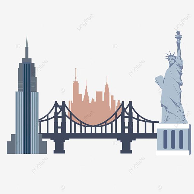 flat wind statue of liberty new york city silhouette
