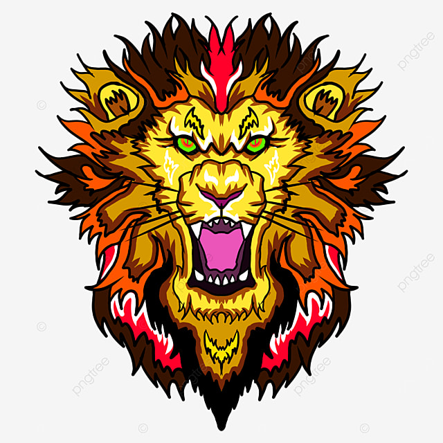 frontal lion head with fire pattern mane clip art