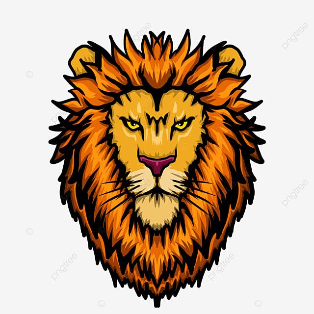 frontal symmetrical lion head clip art