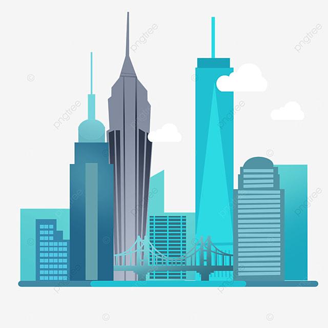 gradient blue new york city silhouette