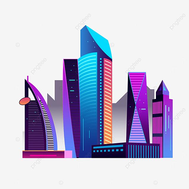 gradient color dubai city silhouette