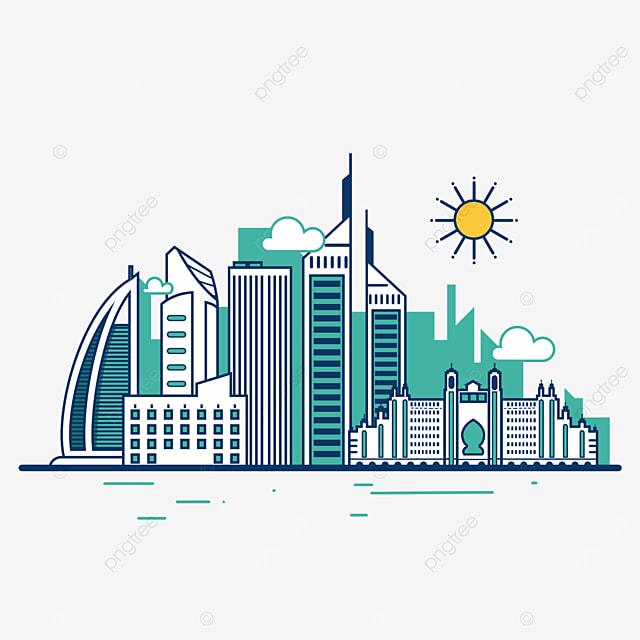 green cartoon dubai city silhouette