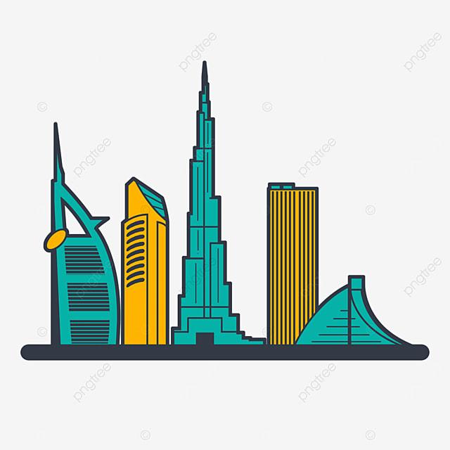 green line dubai city silhouette