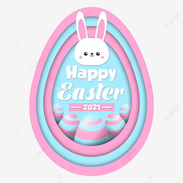 pngtree happy easter 2021 big egg blue and pink pastel with cute png image 2896634