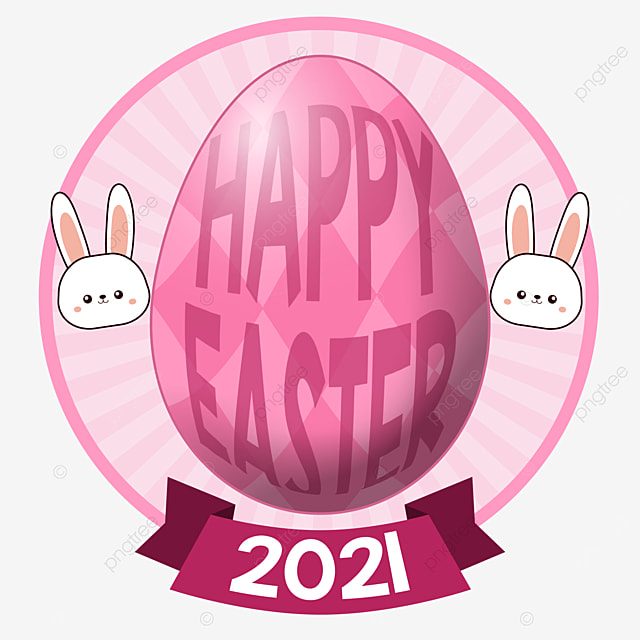pngtree happy easter 2021 pinky big egg and bunny cute png image 2894297