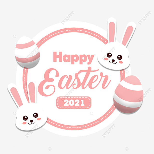 pngtree happy easter 2021 pinky white bunny cute and egg png image 2895197