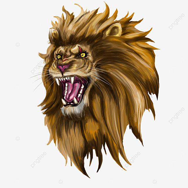 injured open mouth ferocious male lion lion head clip art