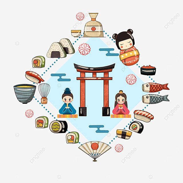 japanese food sushi shrine icon border