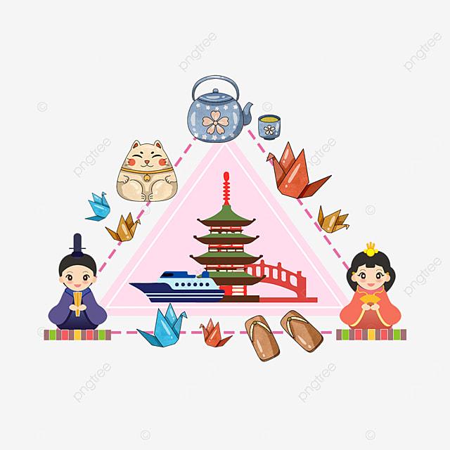 japanese temple building hina matsuri teapot border