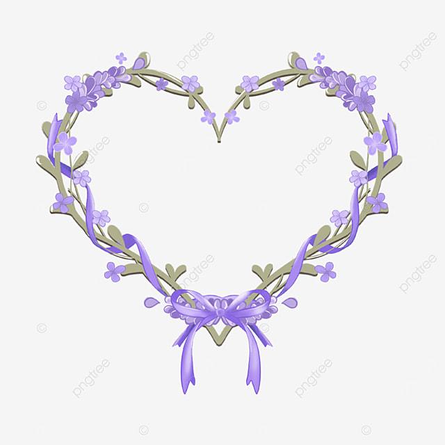 lavender border heart shaped ribbon