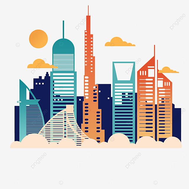 line dubai city silhouette