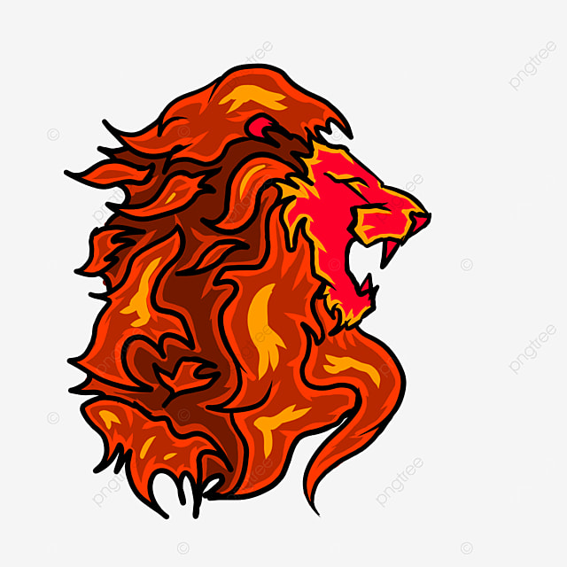 lion head in red flame side clipart