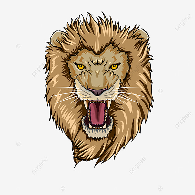 lion head roaring with open mouth clipart
