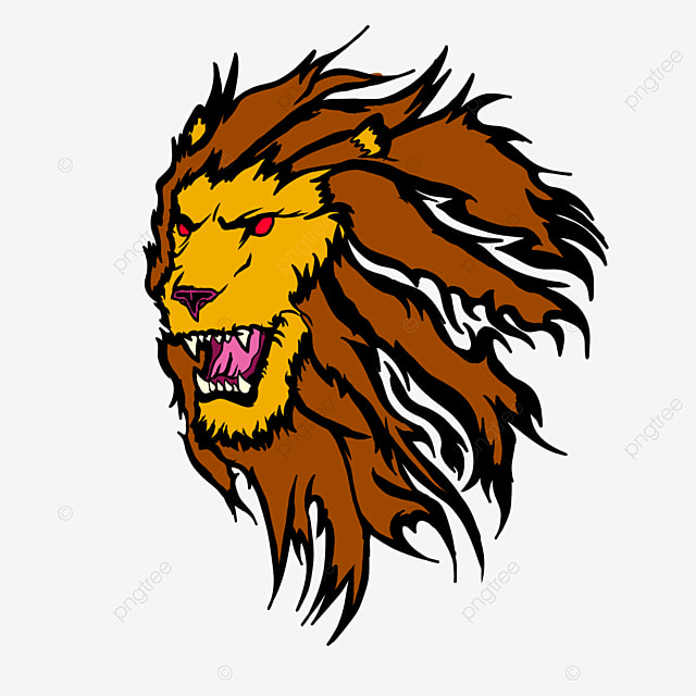 lion head with ferocious red eyes clipart