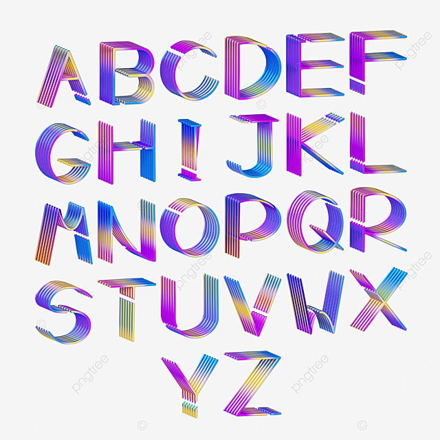 metal gradient english letters