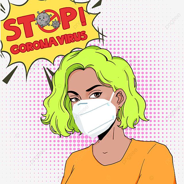 new coronavirus pop style women with green hair wear masks