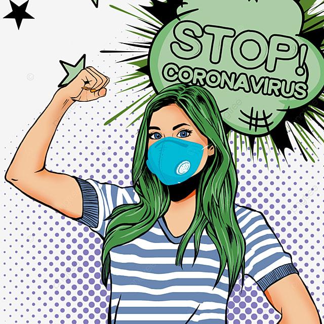 novel coronavirus beauty girl wearing blue mask