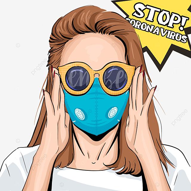 novel coronavirus pop style women with yellow glasses wear masks