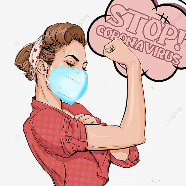 novel coronavirus pop up women wearing blue masks