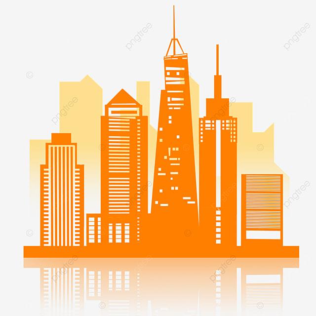 orange cutout building bustling new york city silhouette