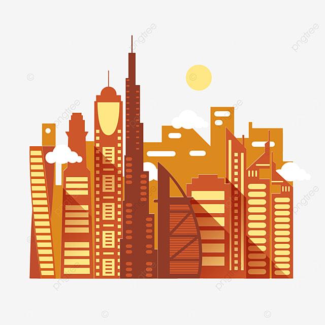 orange dubai city silhouette