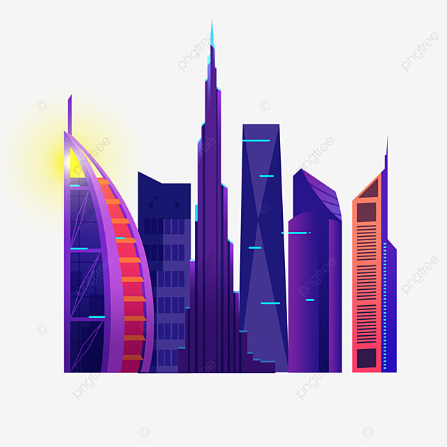 purple glamour dubai city silhouette